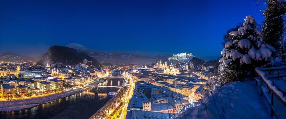 Stadtpanorama im Winter