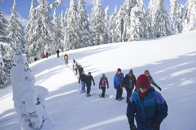 eine Gruppe an Wanderern beim Schneeschuhwandern im Nationalpark Kalkalpen